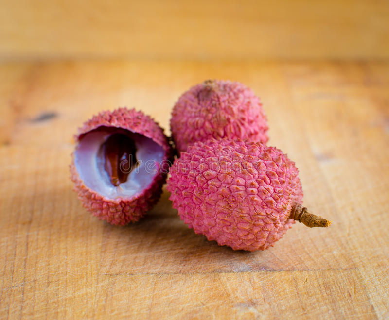 Download Lychees on wood stock image. Image of piece, juice, leaf - 36043045