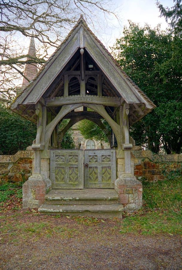 Lychgate,圣斯蒂芬斯教会,Hammerwood,苏克塞斯,英国 免版税库存照片