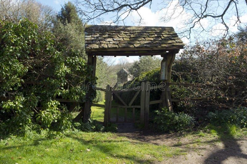 Lychgate, Duntisbourne wekt, Gloucestershire, het UK op royalty-vrije stock afbeeldingen