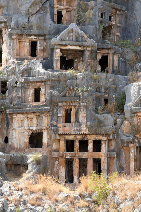 Lycian Tombs in Myra, Demre royalty free stock photography