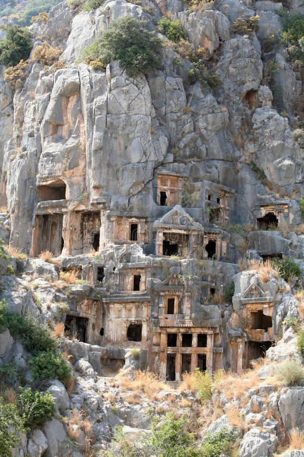Lycian Tombs in Myra, Demre royalty free stock images