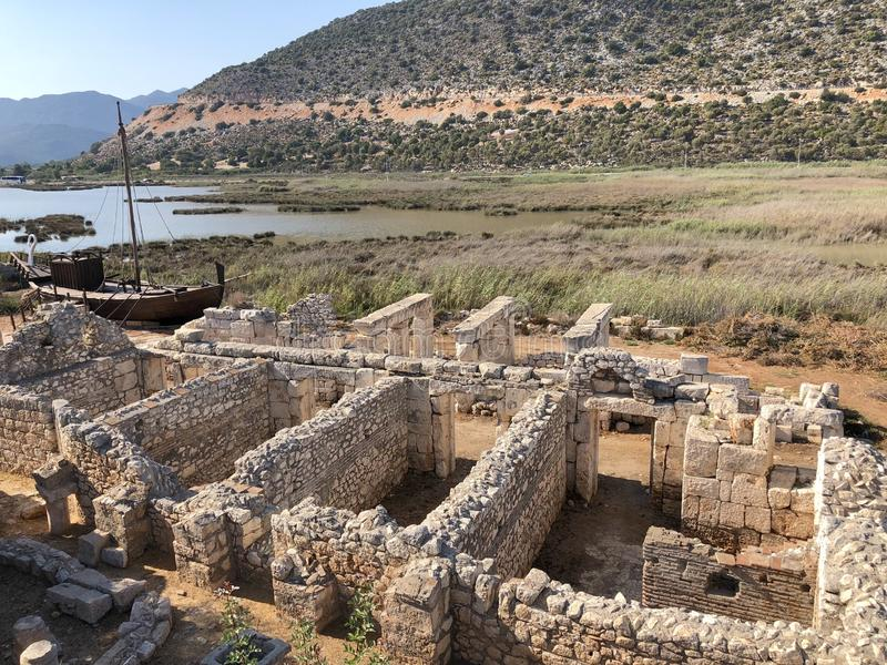 Lycian Antieke Stad in Turkije Lycianbeschaving royalty-vrije stock afbeeldingen