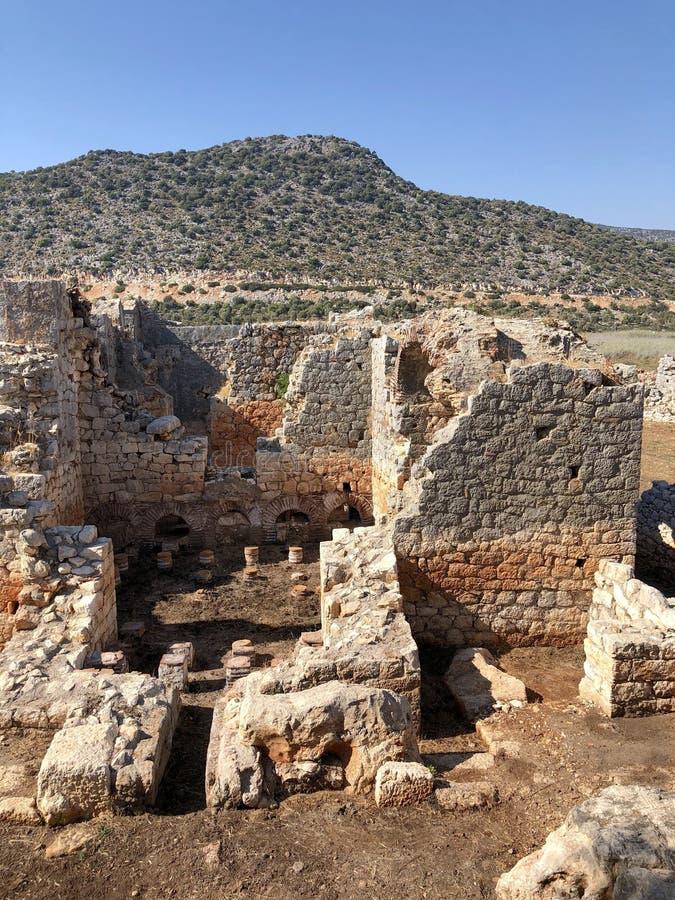 Lycian Antieke Stad in Turkije Lycianbeschaving stock afbeelding