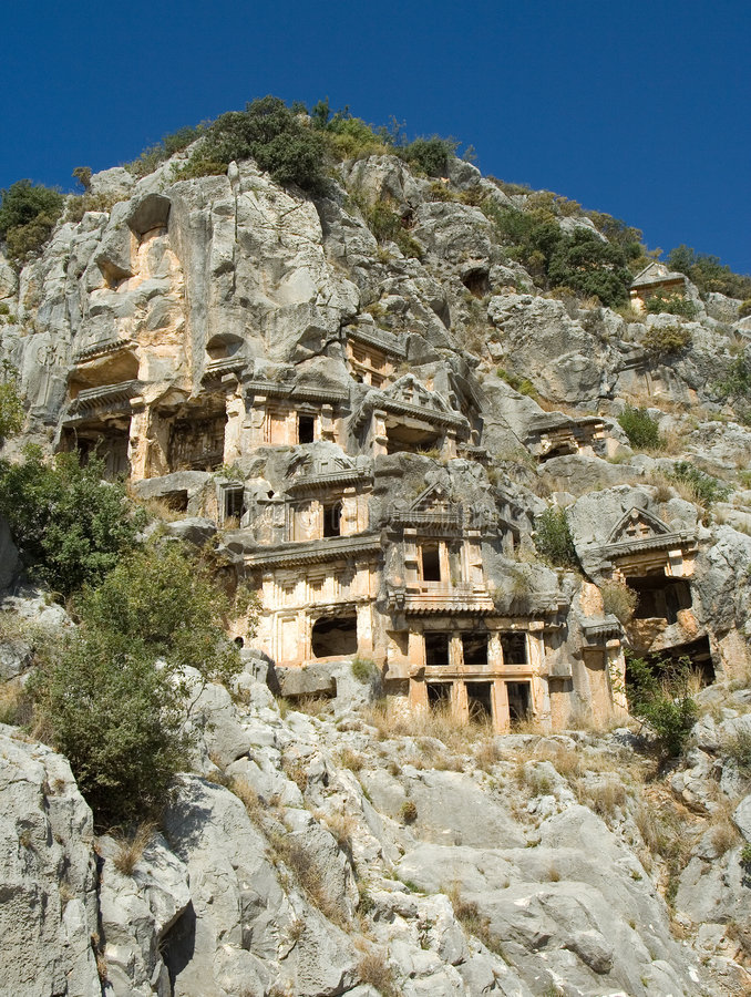 Download Lycian mountain graves stock photo. Image of turkish, cave - 6833196