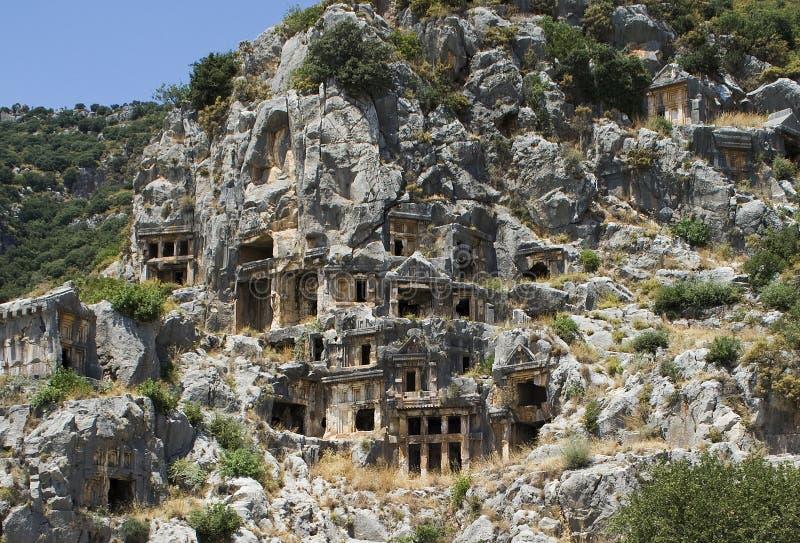 Lycian Roccia-ha tagliato le tombe in Myra immagine stock