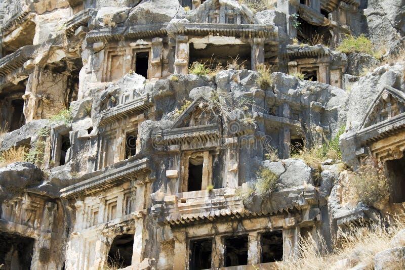 Lycian Roccia-ha tagliato le tombe in Myra immagini stock libere da diritti