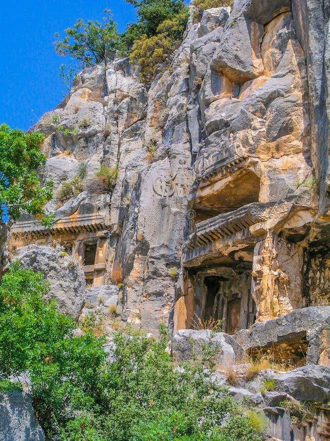 Lycian Roccia-ha tagliato le tombe in Myra immagini stock