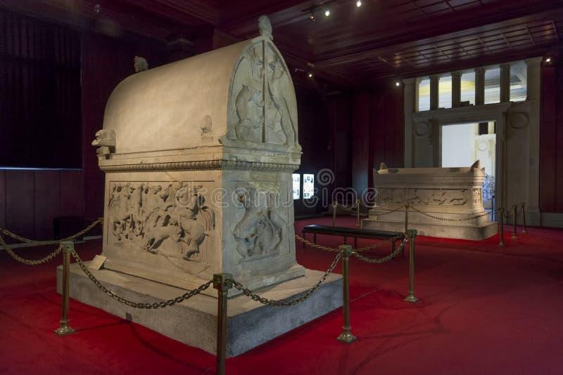 Lycian Sacrophagus, Istanbul. ISTANBUL, TURKEY, DECEMBER 6, 2013: Lycian sacrophagus at Istanbul Archeology Museum stock image