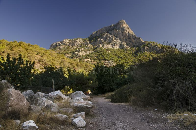 Lycian trail in Turkey, in this vengeance the road passes through the gorge from which a beautiful view of the top of the mountain royalty free stock images