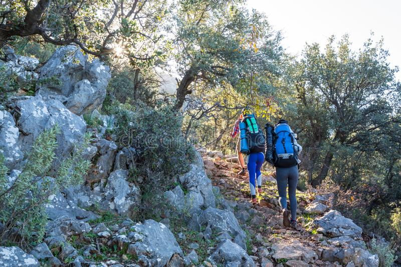 Lycian way. Beautiful nature landscapes in Turkey mountains. Lycian way is famous among hikers stock images