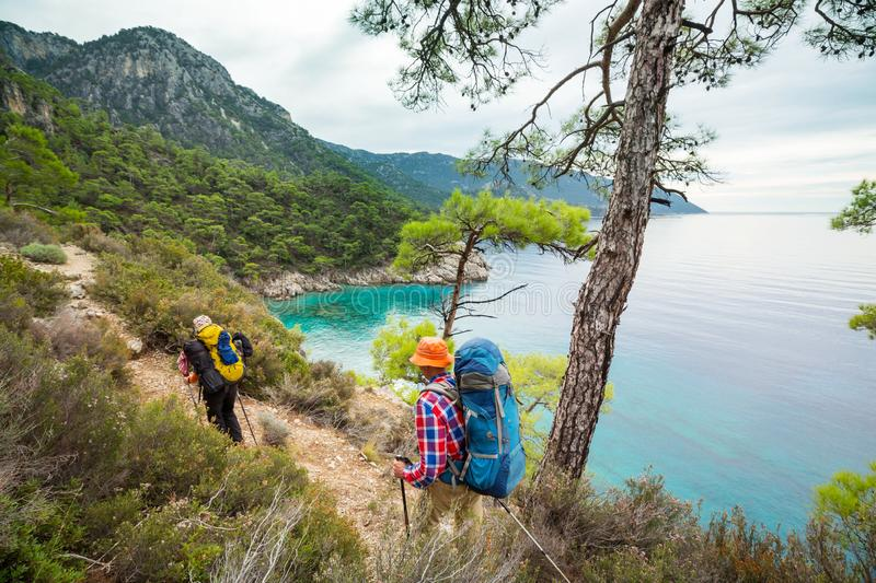 Lycian way. Beautiful nature landscapes in Turkey mountains. Lycian way is famous among hikers royalty free stock images