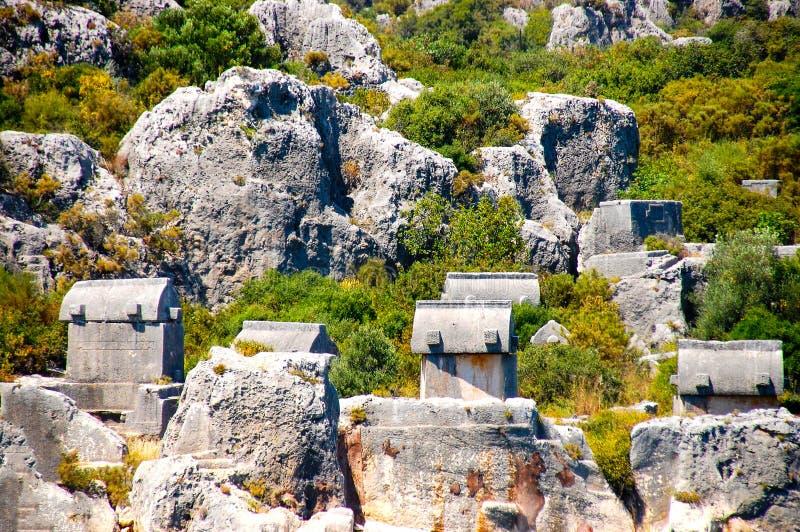 Lyciangraven in Simena royalty-vrije stock afbeeldingen