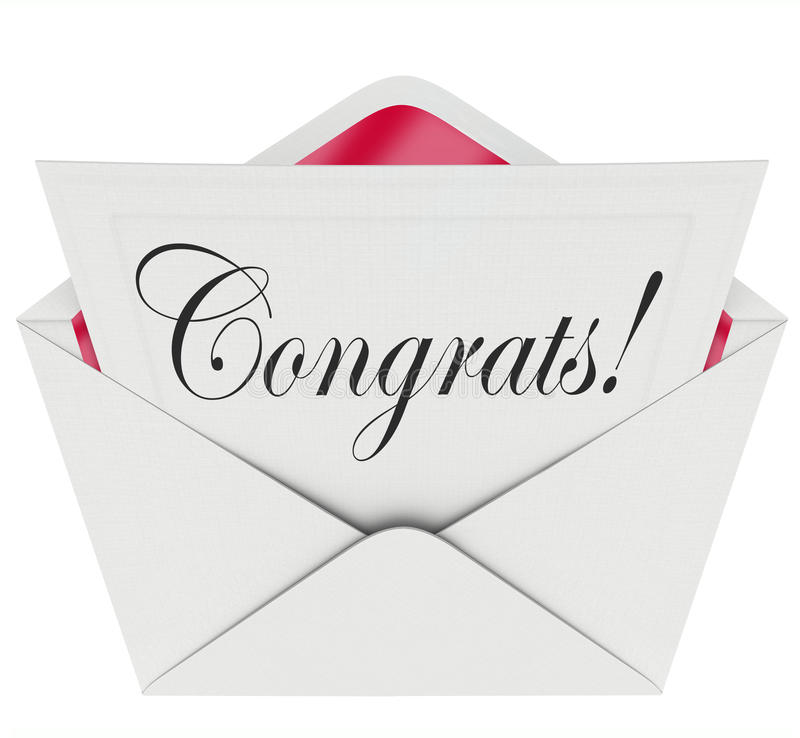 Lyckönskan för kuvert för kort för Congrats anmärkningsöppet brev royaltyfri illustrationer