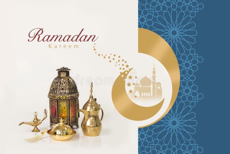 Lyckönskan för Ramadan Kareem hälsningkort royaltyfri foto