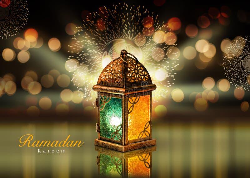 Lyckönskan för Ramadan Kareem hälsningkort royaltyfria bilder
