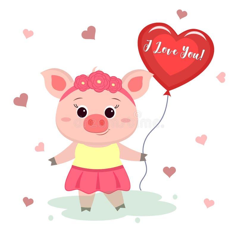 Lyckönskan på dag för valentin s Ett gulligt svin med en kant av blommor och en klänning är stå och rymma hjärta-formad stock illustrationer