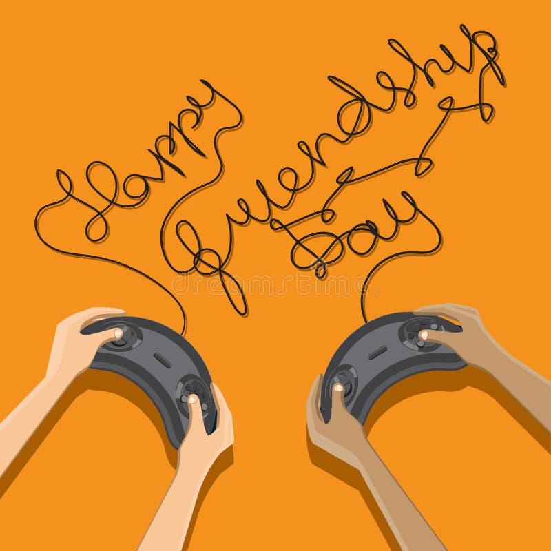 Lyckönskan på den internationella dagen av skriftliga trådar för kamratskap från styrspakarna i händerna av barn bl? vektor f?r s stock illustrationer