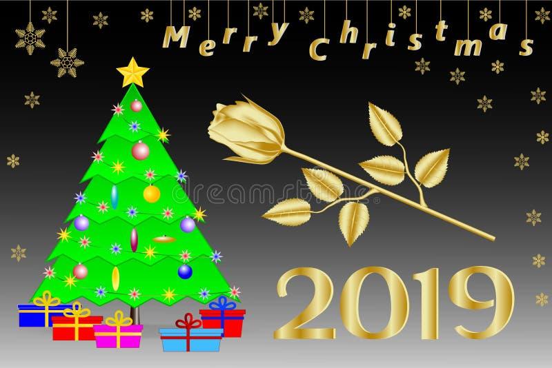 Lyckönskan på på engelska jul 2019 Julgran med en guld- fem-pekad stjärna, gåvor och en guld- ros vektor illustrationer