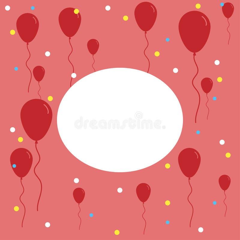 lyckönskanbakgrund med många ballongbanerhälsningar royaltyfri illustrationer