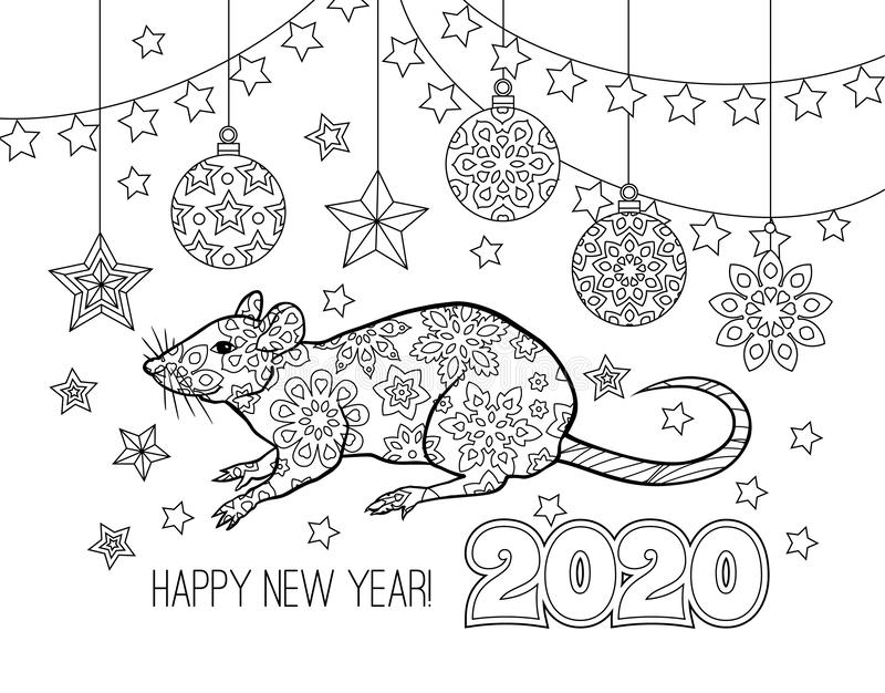 Lyckönskankortet för det nya året med nummer 2020, tjaller och festliga objekt Bild f?r kalendern, f?rgl?ggningbok royaltyfri illustrationer