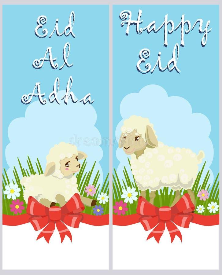 Lyckönsknings- affischer av Eid al-Adha och lyckliga Eid vektor stock illustrationer