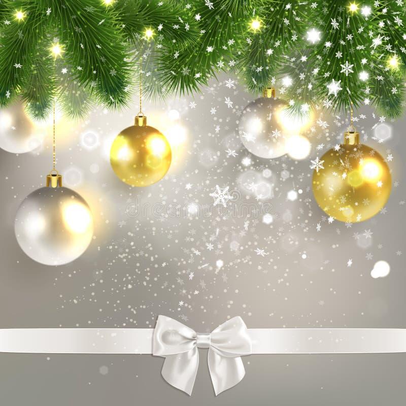 Lyckönsknings- bakgrund för jul med julbollar royaltyfri illustrationer