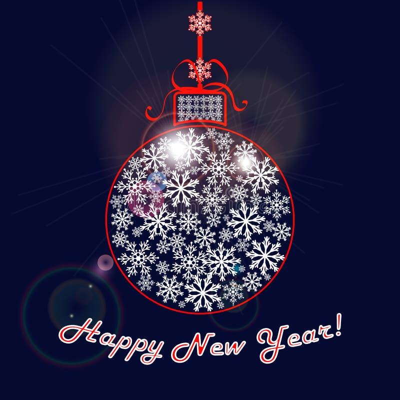Lyckönsknings- bakgrund för lyckligt nytt år Julboll av snowflakes vektor illustrationer