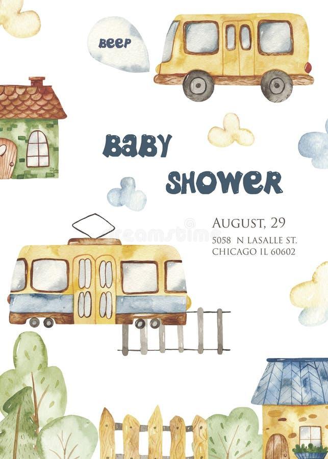 Lyckönsknings- barns för vattenfärg kort för en pojke med en stadstransport royaltyfri illustrationer