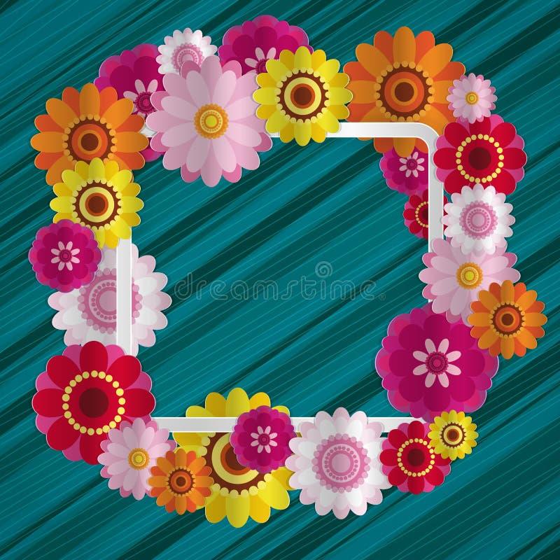 Lyckönsknings- blom- bakgrund för vår Festliga pappers- blommor stock illustrationer