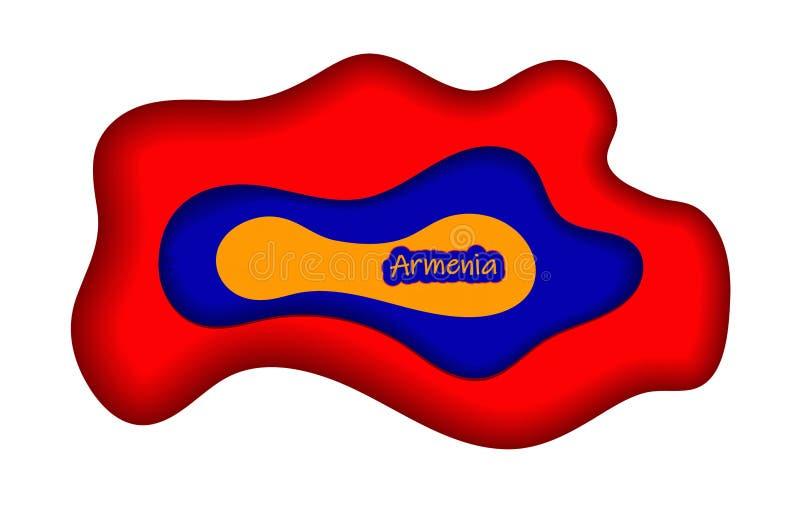 Lyckönsknings- design för Maj 28, Republiken Armenien dag EMBLEM LOGO I FÄRGER AV NATIONSFLAGGAN stock illustrationer