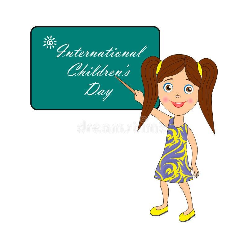 Lyckönsknings- inskrift: Internationella barns dag - bild med text royaltyfri illustrationer