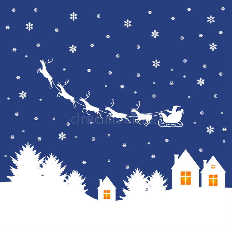 Lyckönsknings- kort för jul med jultomten på släde stock illustrationer
