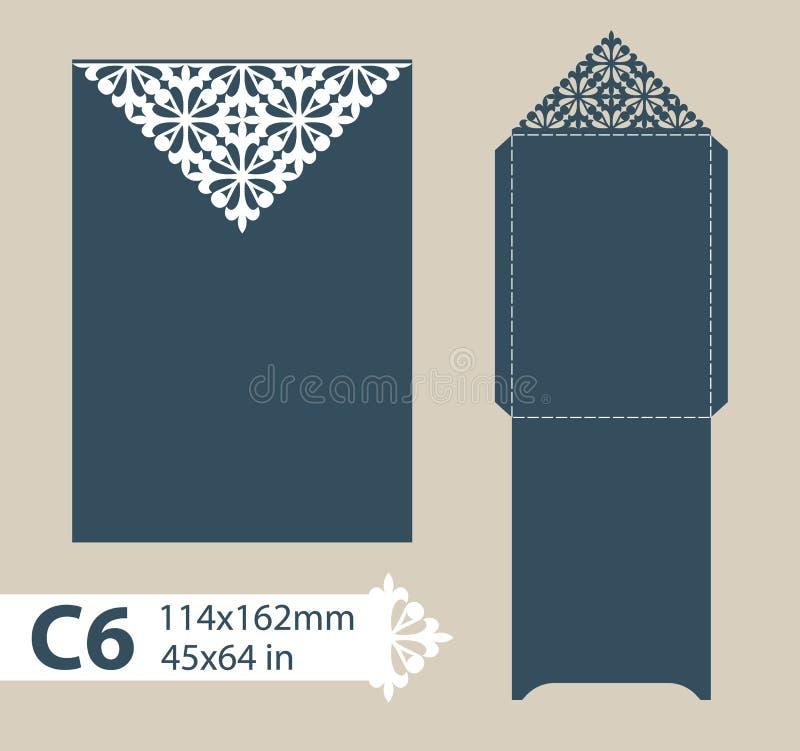 Lyckönsknings- kuvert för mall med den sned openwork modellen stock illustrationer