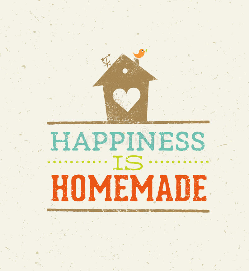 Lycka är det hemlagade citationstecknet Nyckfullt begrepp för affisch för husvektortypografi royaltyfri illustrationer