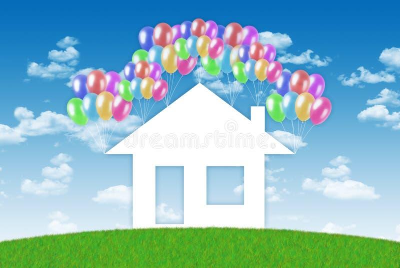 Lycka av att ha ett hus vektor illustrationer