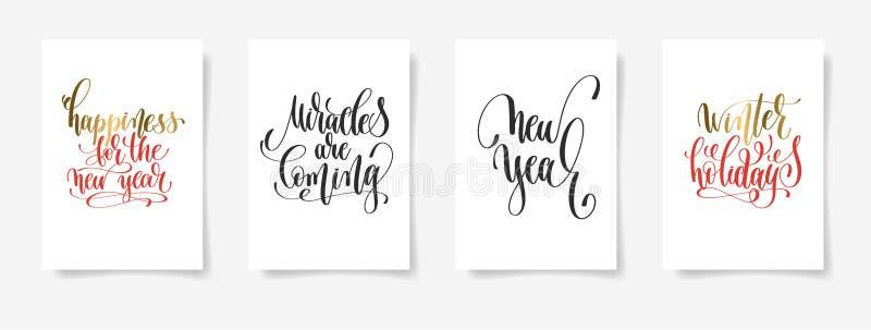 Lycka för det nya året, mirakel är det kommande nya året, winte stock illustrationer