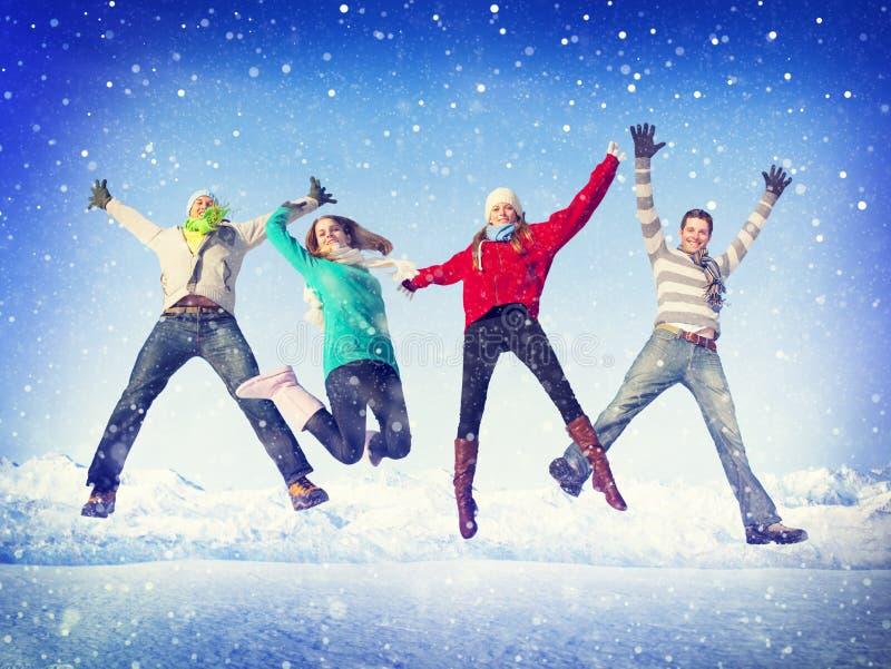 Lycka för vinter för julberömkamratskap arkivbild