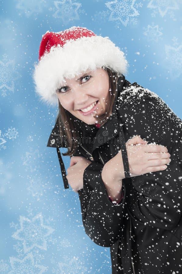 Lycka i snowen fotografering för bildbyråer