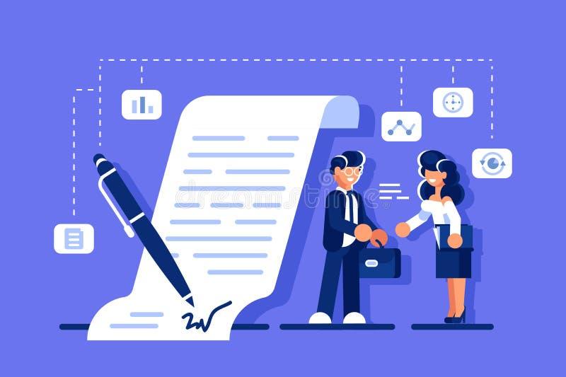 Lyckad affärsöverenskommelse vektor illustrationer