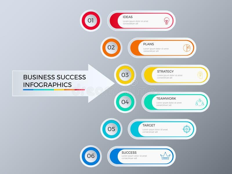 Lyckad affärsidédesign som marknadsför den infographic mallen Infographics med symboler och beståndsdelar royaltyfri illustrationer