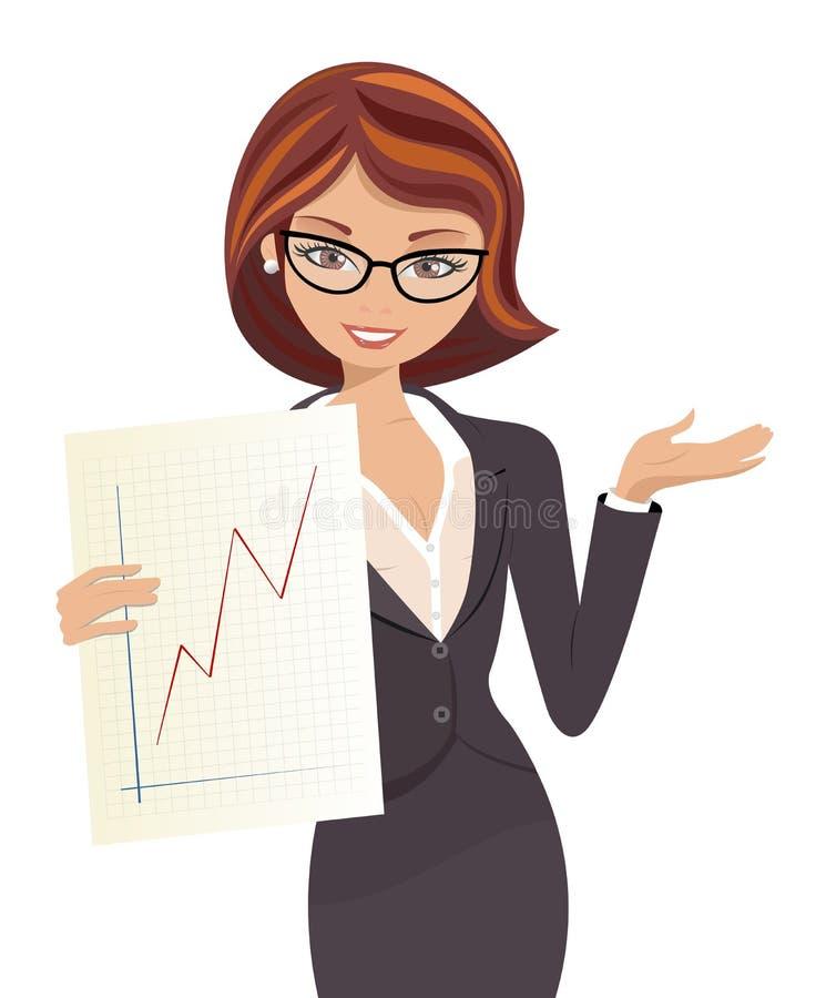 Lyckad affärskvinna royaltyfri illustrationer