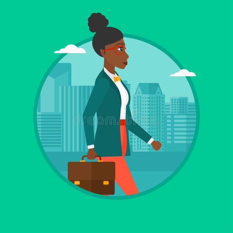 Lyckad affärskvinna som går med portföljen vektor illustrationer