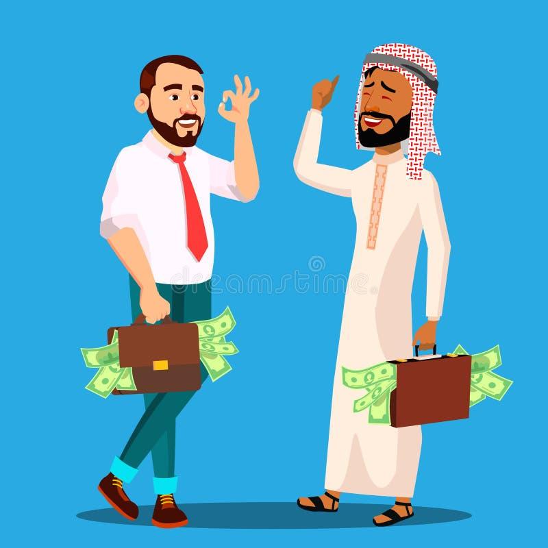 Lyckad affärsman With Briefcase Full av pengar i händer, arabisk europeisk vektor isolerad knapphandillustration skjuta s-startkv vektor illustrationer