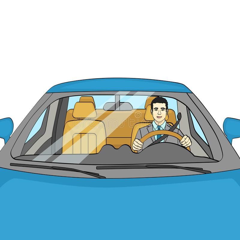 Lyckad affärsman i lyxig bil Man som kör en Cabriolet Isolerat objekt på den vita bakgrundsvektorn stock illustrationer