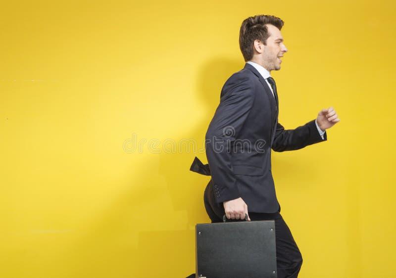 Lyckad affärsman med resväskan royaltyfri fotografi