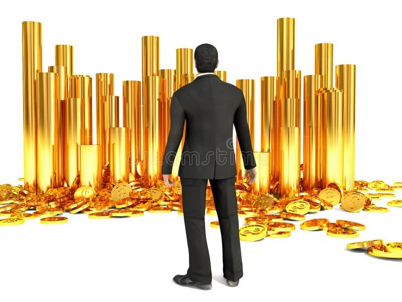 Lyckad affärsman och hög av guld- mynt för dollar stock illustrationer