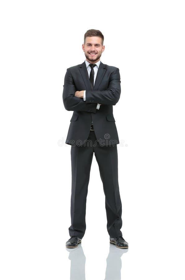Lyckad affärsman på vit bakgrund arkivbild