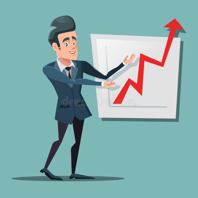 Lyckad affärsman Pointing på tillväxtdiagram Bästa sikt av två affärsmän som dicussing något medan ett av dem som pekar graferna  royaltyfri illustrationer
