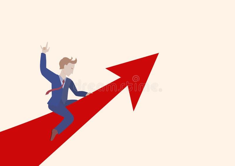 Lyckad affärsman som rider upp en röd pil stock illustrationer