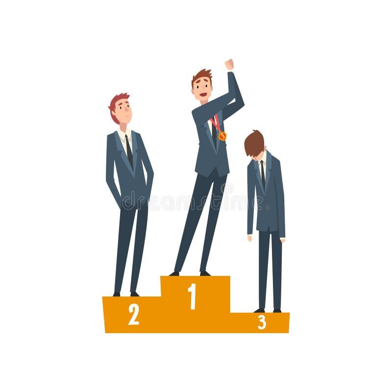 Lyckad affärsman Standing på sockel med vinnarekoppen, Team Leader Competition, ledarskap och teamworkvektorn royaltyfri illustrationer